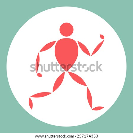 Vector color logo with running man - stock vector