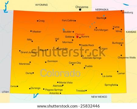 Vector color map of Colorado state. Usa - stock vector