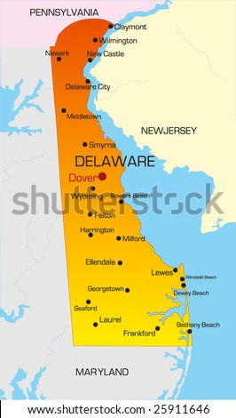 Vector color map of Delaware state. Usa - stock vector