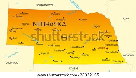 Vector color map of Nebraska state. Usa - stock vector