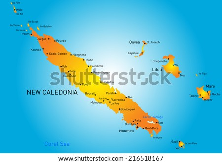 Vector color map of New Caledonia - stock vector