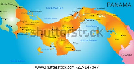 Vector color map of Panama country  - stock vector
