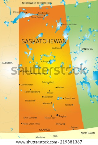 Vector color map of Saskatchewan province - stock vector