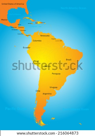 Vector color map of South America countries - stock vector