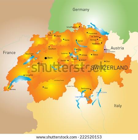 vector color map of Switzerland  - stock vector