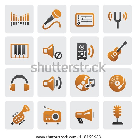 vector color music icons set on gray - stock vector