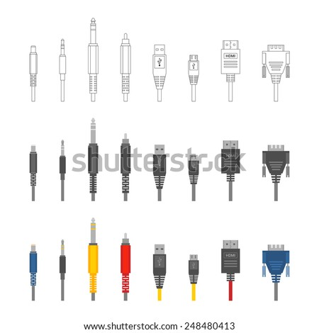 Vector color outline various audio connectors and inputs set - stock vector