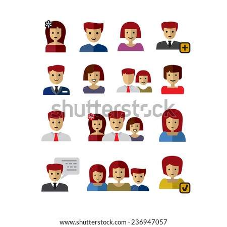 vector color people icons set on white - stock vector