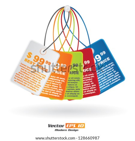 Vector color price tag set - stock vector