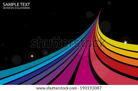 Vector color  rainbow background illustration curvatures - Curved rainbow color background template - stock vector