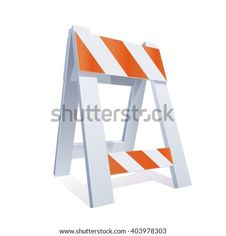 Vector Color Realistic Illustration Of Road Barrier For Traffic and Transportation Concepts, Prints Or Under Construction Web Page - stock vector