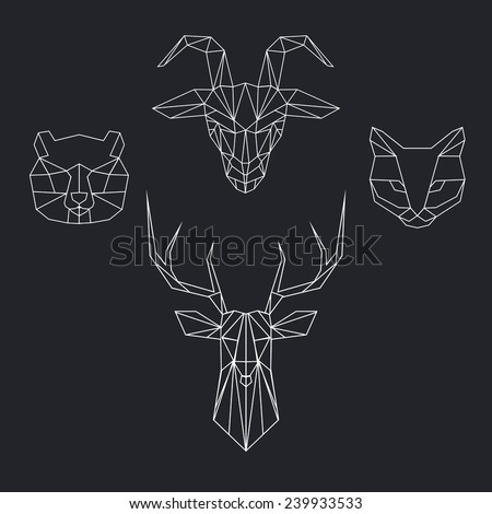 Vector color set with geometric polygon animal of triangles. Deer, bear, goat, cat. - stock vector