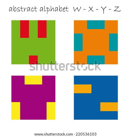 Vector color signs initial letter W, X, Y, Z - stock vector