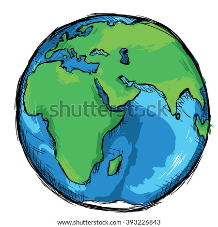 Vector Color Sketch Illustration - Globe - stock vector