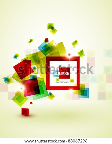 Vector color squares abstract background - stock vector