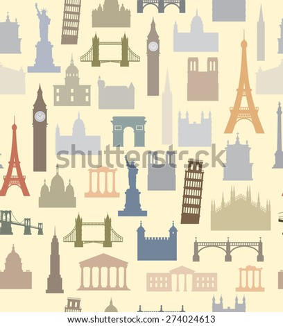 vector color travel icon set on beige background - stock vector