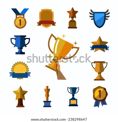 vector color trophy and awards icons set on white - stock vector