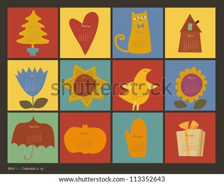 vector color wall calendar 2013 season - stock vector