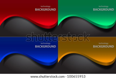 Vector color wave backgrounds. Red,  turquoise, blue and yellow - stock vector