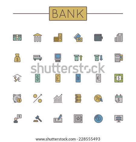 Vector Colored Bank Line Icons - stock vector