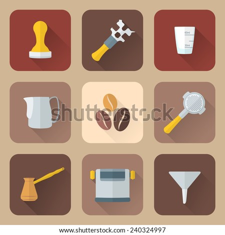 vector colored flat design coffee barista equipment icons set tools espresso tamper, coffee wrench, measuring glass, pitcher, coffee beans, filter holder, funnel, knockbox, turk coffee pot  - stock vector