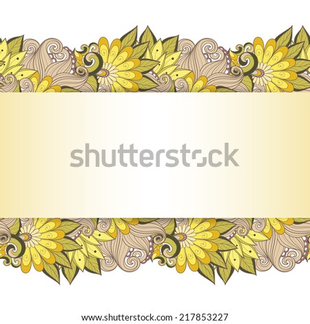 Vector Colored Floral Background. Hand Drawn Texture with Flowers - stock vector