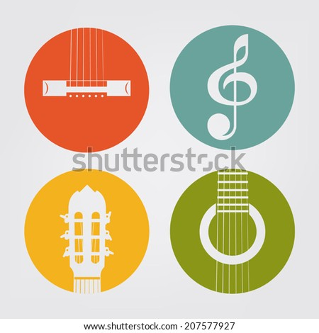 Vector colored icons of classical acoustic guitar elements and clef on white background - stock vector