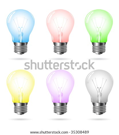 vector colored light bulbs isolated on white - stock vector