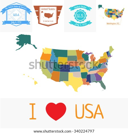 Vector colored map of the USA with outlined states and vintage stamps  - stock vector
