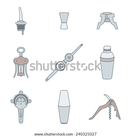 vector colored outline barman equipment icons set tools pour spout, jigger, plug, winged corkscrew, wine opener, squeezer, shaker, cocktail strainer - stock vector