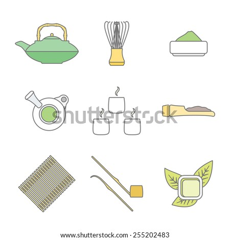 vector colored outline japan tea ceremony equipment icons collection tools set white background  - stock vector