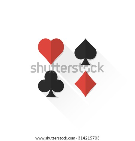 vector colored playing cards suits set hearts spades clubs diamonds isolated flat design illustration on white background with shadow  - stock vector