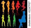 Vector colored sexy females silhouettes with reflections on black background. - stock vector