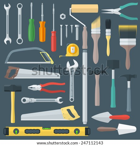 vector colored various flat design house remodel instruments set  - stock vector