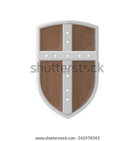 vector colorer flat design medieval wooden textured metal cross warrior Crusader shield isolated illustration on white background  - stock vector