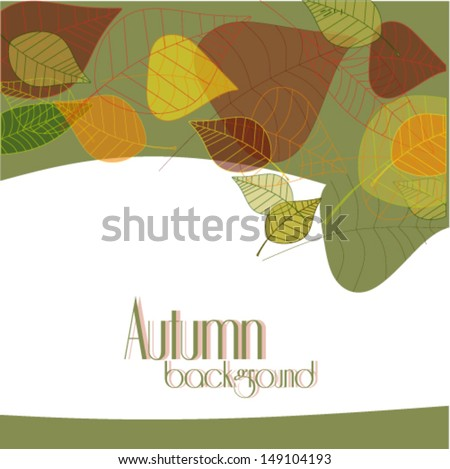 Vector colorfu autumn leaves background illustration  - stock vector