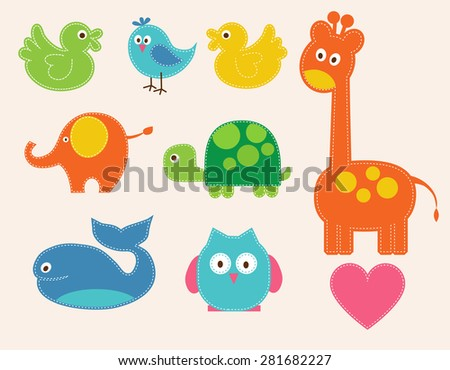 Vector colorful animals set  for kids. illustration - stock vector