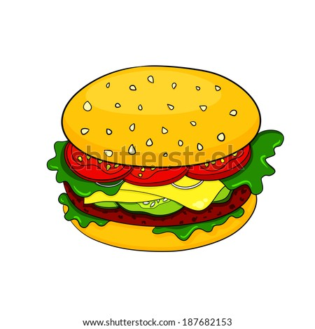 Vector colorful appetizing big hamburger icon in cartoon style - stock vector