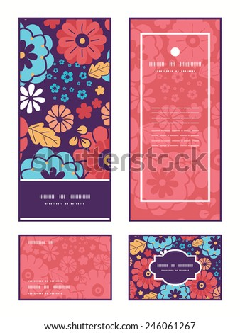 Vector colorful bouquet flowers vertical frame pattern invitation greeting, RSVP and thank you cards set - stock vector