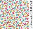 Vector Colorful Branches Seamless Pattern Background With abstract plants with fun leaves and branches forming a floral texture. - stock vector