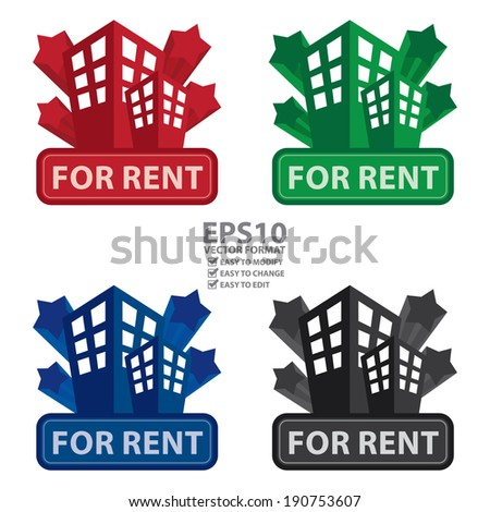 Vector : Colorful Building, Apartment or Office For Rent Icon or Label Isolated on White Background - stock vector