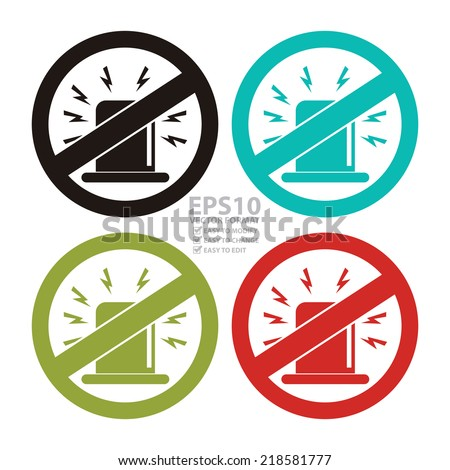 Vector : Colorful Circle Fire Alarm Emergency Use Only Sign, Icon or Label Isolate on White Background  - stock vector