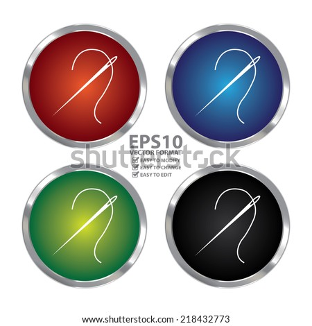 Vector : Colorful Circle Metallic Needle Icon or Button Isolated on White Background - stock vector