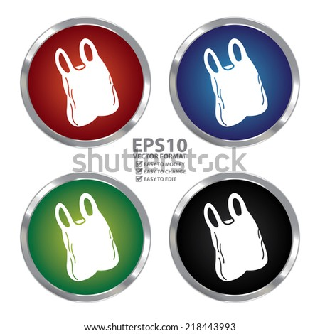Vector : Colorful Circle Metallic Plastic Bag Icon or Button Isolated on White Background - stock vector