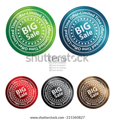 Vector : Colorful Circle Metallic Style Big Sale, Limited Time Offer Sticker, Label, Tag or Icon Isolated on White Background  - stock vector