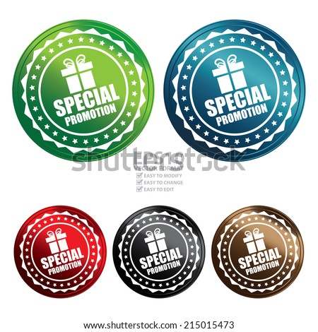 Vector : Colorful Circle Metallic Style Special Promotion With Gift Box Sign Icon, Label or Sticker Isolated on White Background  - stock vector