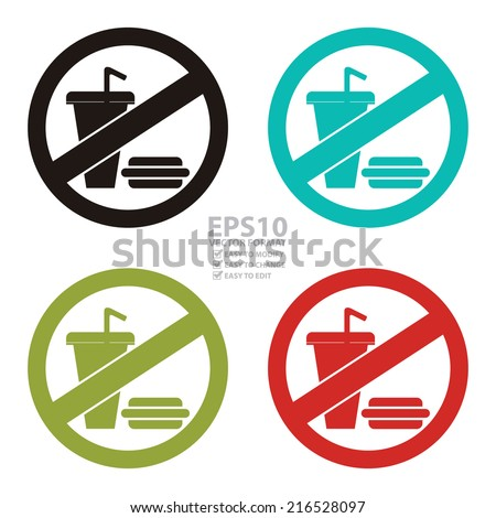 Vector : Colorful Circle No Food and Drink or No Eating and Drinking Prohibited Sign, Icon or Label Isolate on White Background  - stock vector