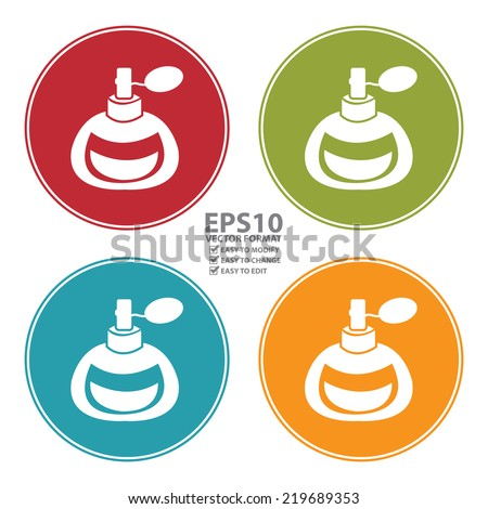 Vector : Colorful Circle Perfume or Fragrance Spray Icon, Sign or Symbol Isolated on White Background  - stock vector