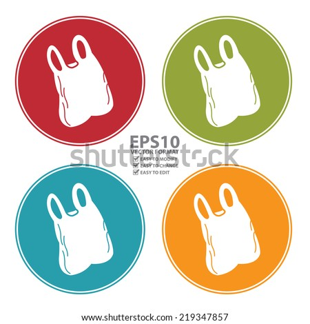 Vector : Colorful Circle Plastic Bag Icon, Sign or Symbol Isolated on White Background  - stock vector