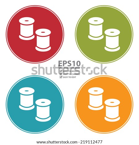 Vector : Colorful Circle Reel With Thread Icon, Sign or Symbol Isolated on White Background  - stock vector
